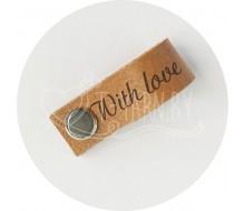 Бирка съемная из нат. кожи (With Love) - светло-коричневый