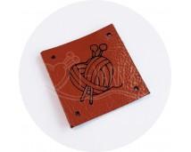 Бирка пришивная из нат. кожи (Сердце) - рыжий