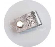 Бирка съемная из нат. кожи (сердце) - серебро