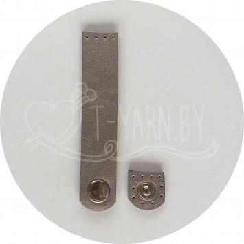 Кнопка-застежка пришивная (перламутр) эко-кожа, 10*2 см