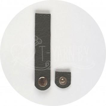 Кнопка-застежка пришивная (серый) нат. кожа, 10*2 см