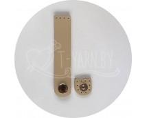 Кнопка-застежка пришивная (песочный) нат. кожа, 10*2 см