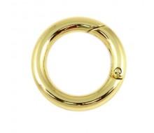 Кольцо-карабин 25 мм (светлое золото)